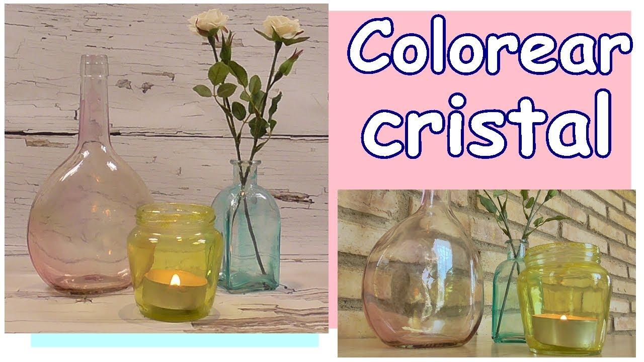 Como pintar tarros o botellas de cristal con Mod Podge. Dar color al cristal
