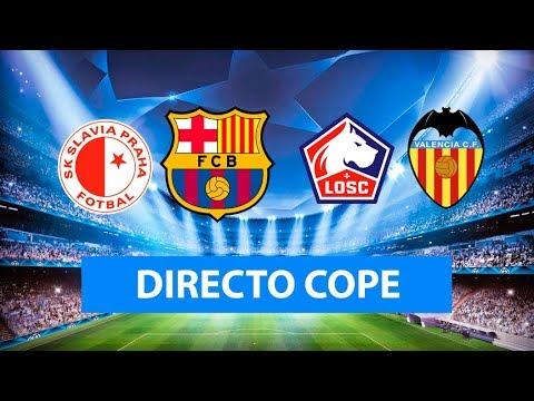 (SOLO AUDIO) Directo del Slavia 1-2 Barcelona y Lille 1-1 Valencia en Tiempo de Juego COPE