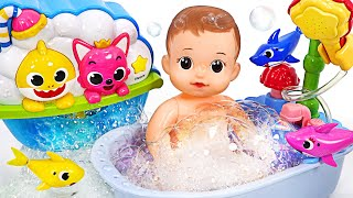 Bubble full! Wash with the exciting Baby Shark melody bubble toy! | PinkyPopTOY