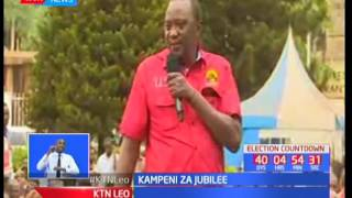 Rais Uhuru Kenyatta akejeli manifesto ya NASA akiwa Kirinyaga