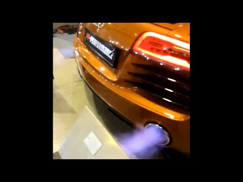 +30 HP 2014 Audi R8 V8 Huge Backfires On Dyno With Armytrix Titanium Exhaust - PP-Performance