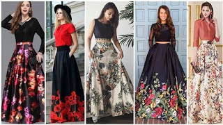 Most Demanding Rose Border Print Party Wear Long Skirt Dresses For High Class Women 2020