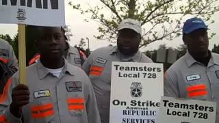 Republic waste workers STRIKE in McDonough, GA 4-15-13