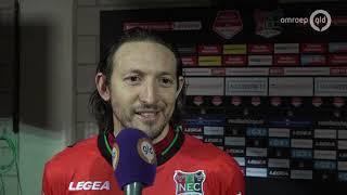 Uitblinker Edgar Barreto en trainer Rogier Meijer na de zege van NEC