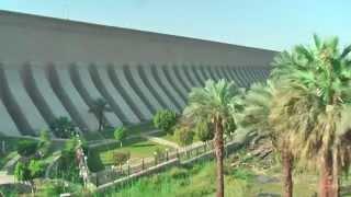 Aswan Low Dam (or Old Aswan Dam) and the High Dam in the Nile River in Aswan, Egypt.