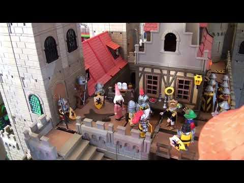 Diorama - Playmobil Medieval Castle and village, Mittelalter Burg und Stadt mit Kirche