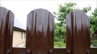 Забор из металлического штакетника (евроштакетника) UNIX с порошковым покрытием