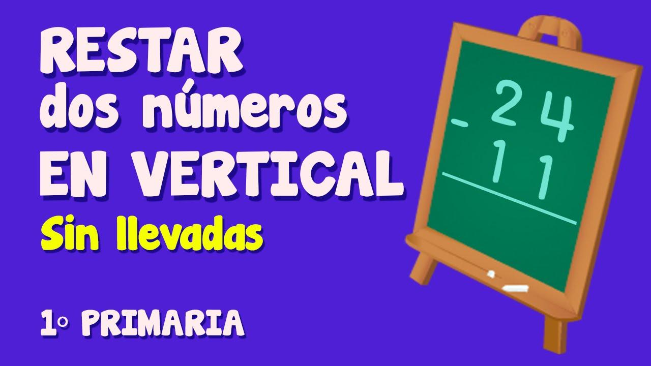 Resta vertical de dos números sin llevar para niños de Primaria (1/3)