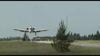 A-10 Thunderbolt II landing in Estonia on road