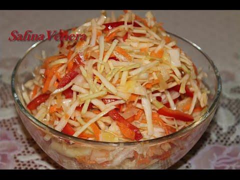 Салат из  капусты,  моркови  и  болгарского  перца. Очень вкусный!