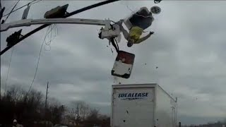 Truck sends worker flying after hitting bucket truck