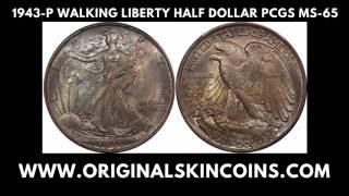 1943-P U.S. Walking Liberty Half Dollar, PCGS MS-65, Toned - Original Skin Coins