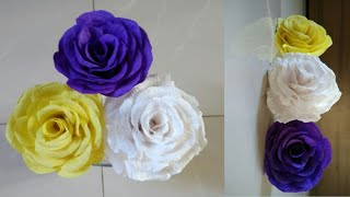 DIY Rose Flower|Making Crepe Paper Flower|How To Make Paper Flowers|Crepe Paper Roses|Paper Flower