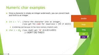 COMP1010 Char Datatype Key Variable
