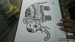 How To Draw Easy Zentangle Elephant Art |Doodle Elephant Art 🐘🐘🐘