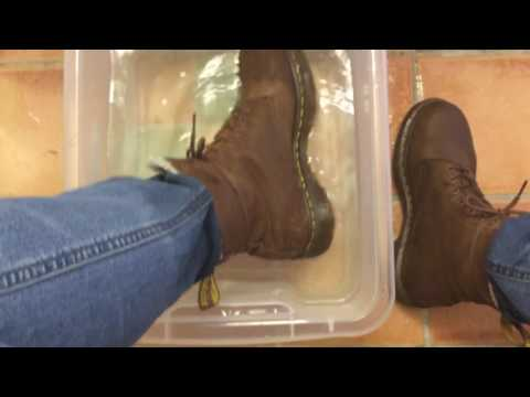 Winter boots in water, Doc Martens