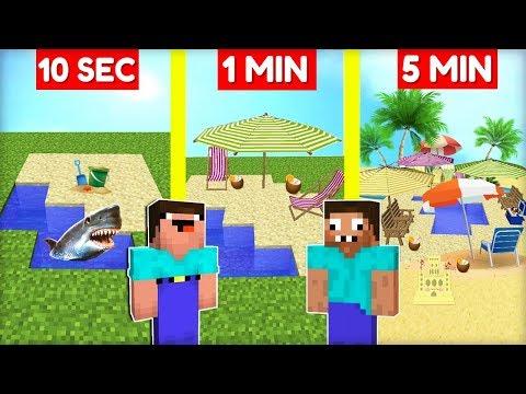 Minecraft NOOB vs. PRO | *KDO JE NOOB?* PLÁŽOVÉ CENTRUM ZA 10 SEC / 1 MIN / 5 MIN!