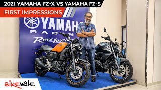 2021 Yamaha FZ-X Vs Yamaha FZ-S V3 Comparison | FIRST IMPRESSIONS | Exhaust Sound, Price | BikeWale