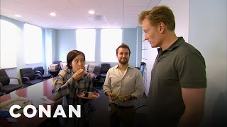 Conan Busts His Employees Eating Cake  - CONAN on TBS - dooclip.me