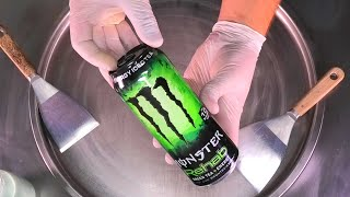 MONSTER Ice Cream Rolls | fried Energy Ice Cream with Monster Green Tea & Matcha | Satisfying ASMR