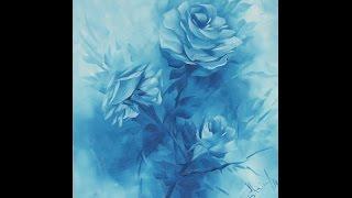 Pintando Rosas Azuis, apenas duas cores de tinta.