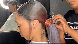 WHAT ARE YOUR THOUGHTS ABOUT THE COLOR? SLEEK PONYTAIL ON COLORED HAIR!!