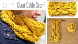 How to KNIT a Giant CABLE SCARF ! | Step-by-Step Cowl Tutorial | Circle Scarf Knitting Pattern