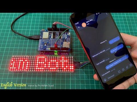 Displaying Telegram Message on Dot Matrix Using Arduino - смотреть