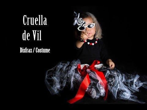 DIY: Disfraz Cruella de Vil Niña / Tutorial cómo hacer el disfraz/ Halloween/ Carnaval
