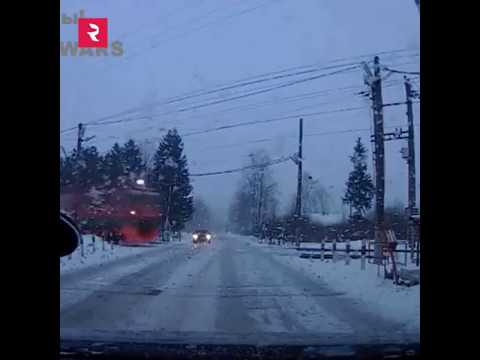 Only in Russia, Train Level Crossing Barriers Raise Before Train Crosses