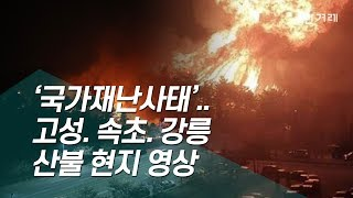 [영상+] '국가재난사태'...시뻘건 불기둥 솟구치는 고성 속초 강릉 산불 현지 영상