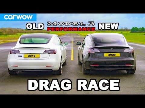 New Tesla Model 3 v Old Model 3 - DRAG RACE