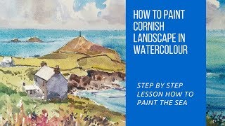 Learn to paint Blue Sea, beach, Clouds and Cottages