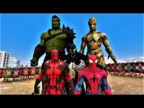 Deadpool, SpiderMan, Venom, Hulk, Groot vs 10000 Romans Ultimate Epic Battle Simulator