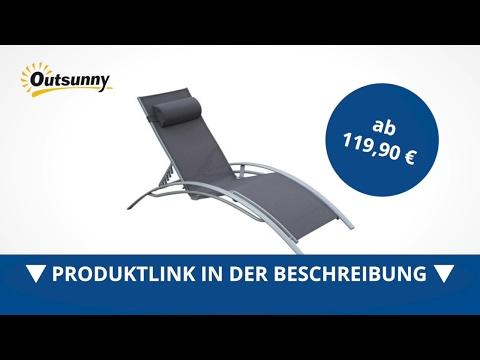 Outsunny Sonnenliege Gartenliege Alu verstellbar mit Liegematte Grau - direkt kaufen!