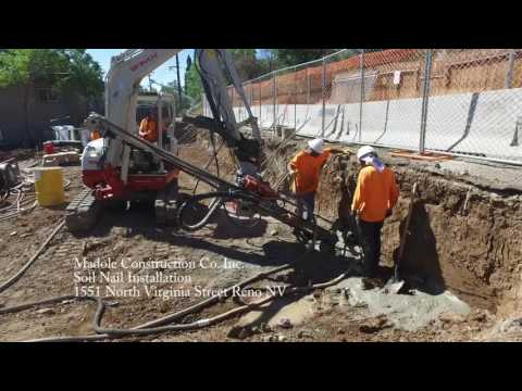 Earth Retention and support foundation development with soil nails and Shotcrete. At the new Reno student...