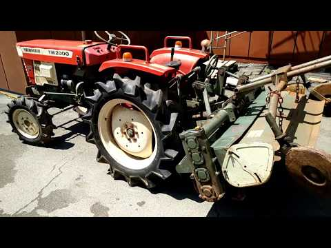 Yanmar YM2000d test drive and rotary moving, проверка трактора, обзор