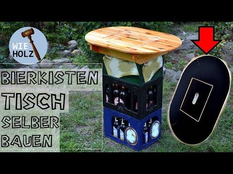 Bierkasten Tisch - Stehtisch selber bauen aus altem Holz -