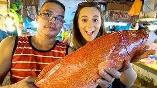 FILIPINO SEAFOOD: We Love The Philippines!! PALAWAN FISH + DAVAO DURIAN in Manila! PINOY STREET FOOD