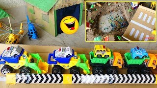 Toys  kids video Funny  Truck Crane Find Surprise Round ball UnderIn the Sand, Toys Car For Kids,