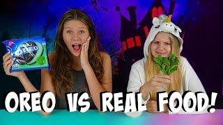 OREO VS REAL FOOD CHALLENGE || Taylor and Vanessa