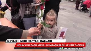 Kızılay'a kan bağışı yapıldı, vatandaşlara gül ve kitap dağıtıldı