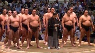 平成27年2015年7月大相撲名古屋場所初日協会ご挨拶北の湖理事長最後の挨拶