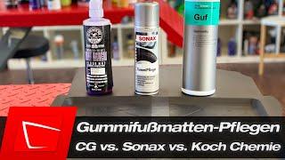Koch Chemie Gummifix vs Sonax Gummipfleger vs Chemical Guys Mat Renew - Pflegen für Gummifissmatten
