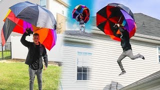JUMPING OFF ROOF WITH HUGE UMBRELLA! *WE ACTUALLY FLOATED*