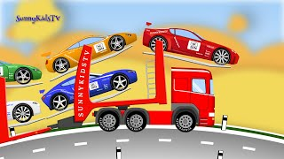 Cars and Trucks for Kids. Learn Numbers. Car Transporter. Car Carrier. Bus. Truck. Cartoon.