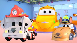 Car garage for kids -  Baby Frank and Baby Matt the PAW PATROLS - Tom's Paint Shop in Car City