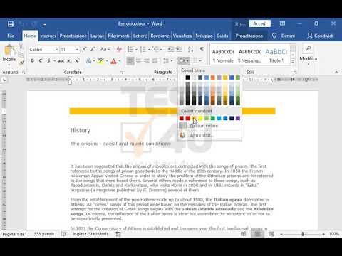 Applica uno sfondo arancione sull'intestazione del documento ...