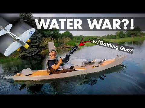 mini-gun-battleship-vs-rc-divebombers--foamboard-kayak