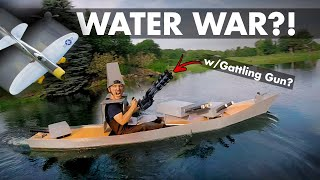 Mini Gun Battleship VS RC Divebombers   Foamboard Kayak